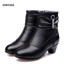 2018 New Fashion Women s Winter Boots Warm Cotton Genuine Leather Shoes  Snow Boots High Heels Rhinestone Women Boots Big Yards 7d1931f5091e