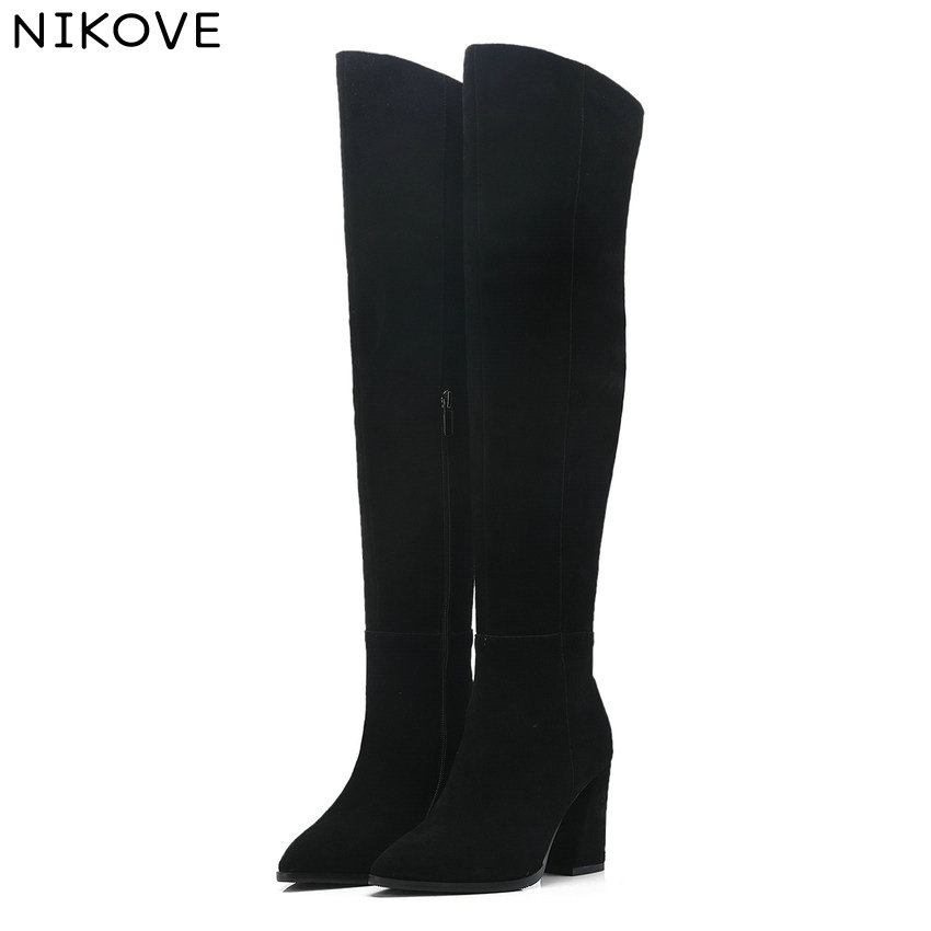 NIKOVE 2019 Women Over The Knee High Boots Cow Suede Fashion Squarr High Heel Women Boots Winter Women Shoes Size 34-40NIKOVE 2019 Women Over The Knee High Boots Cow Suede Fashion Squarr High Heel Women Boots Winter Women Shoes Size 34-40