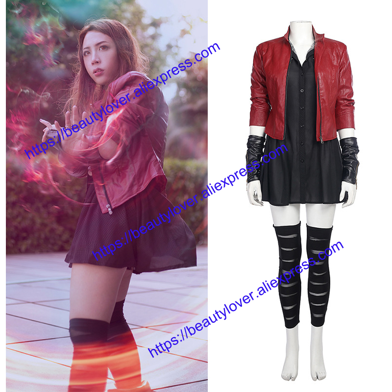 Avengers Age of Ultron Cosplay Costumes Wanda Maximoff Scarlet Witch Jacket Dress Halloween adult women Cosplay Costume