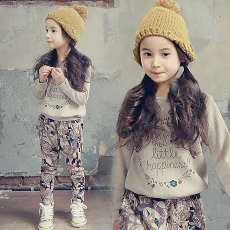 Baby Girl Clothes 2018 spring new suit for girls clothing sets in children sports letter sweater + flower pants free shipping 2017 new spring autumn baby boys 2pcs suit long sleeved sweater sports letter sets