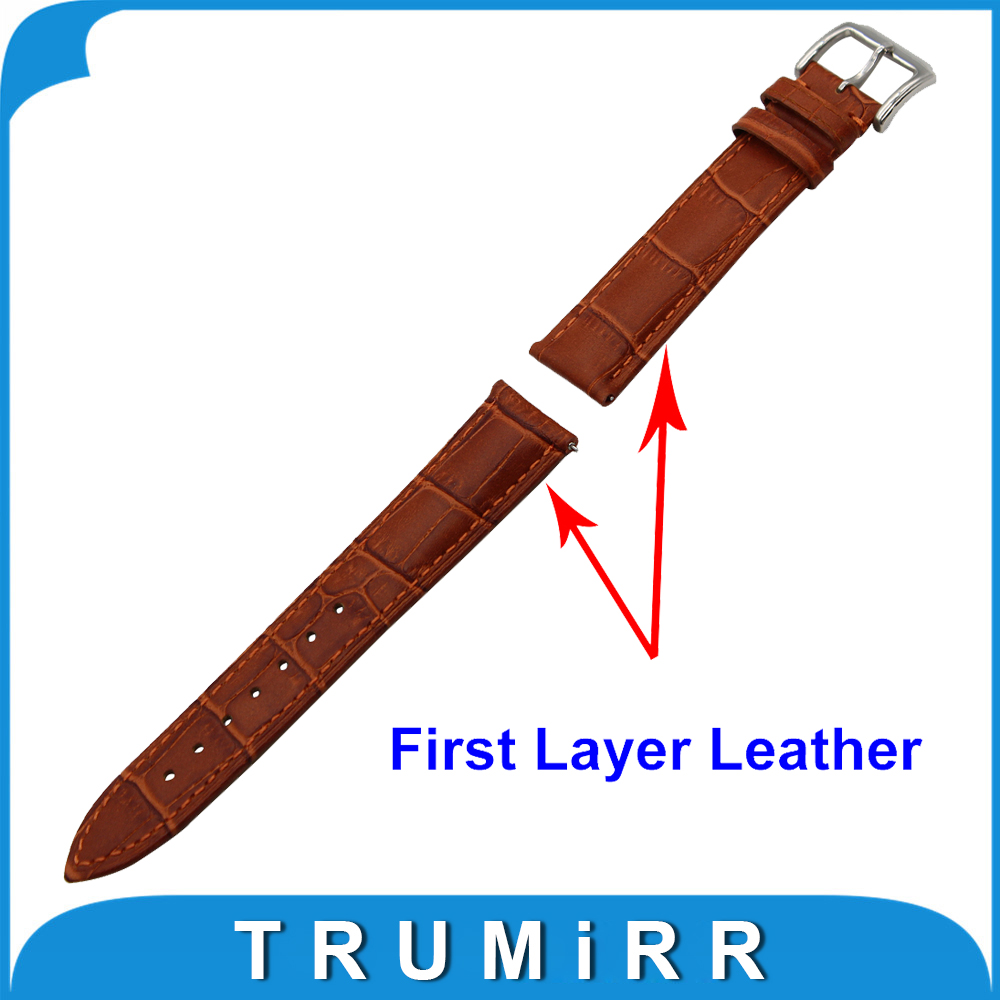 20mm First Layer Genuine Leather Watch Band Quick Release Strap for Garmin Vivomove Replacemenet Wrist Belt Bracelet Black Brown genuine leather watchband 20mm black brown replacement leather wristband for garmin vivomove apac strap