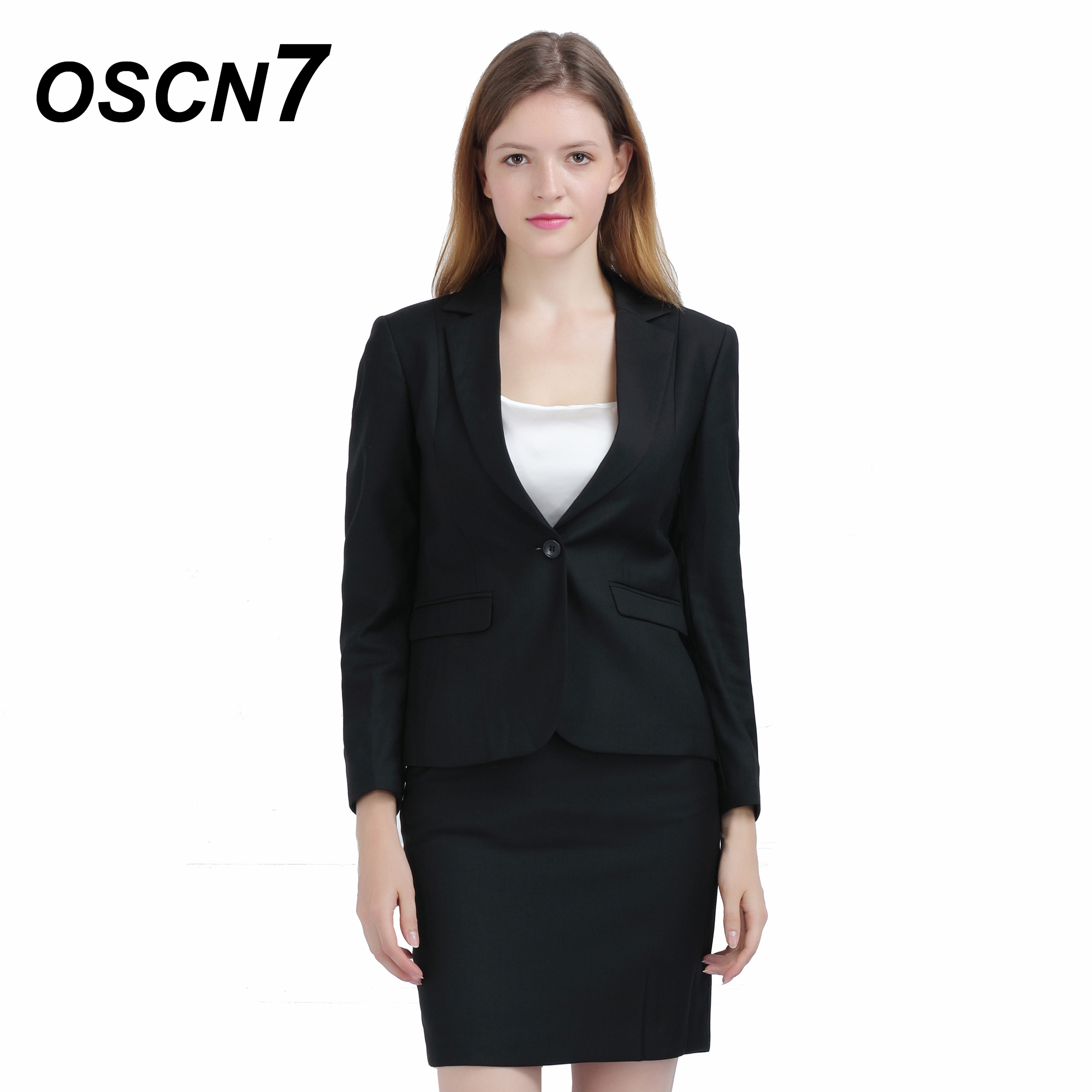 Oscn7 Slim Fit Ladies Suit With Skirt Business Plus Size Leisure Skirt Suit 2019 Fashion Office Uniform 152 Warm And Windproof