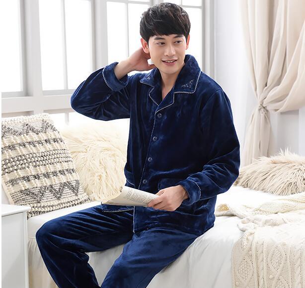 Winter Men Pajamas Thick Set Nightie Flannel Men Pajamas
