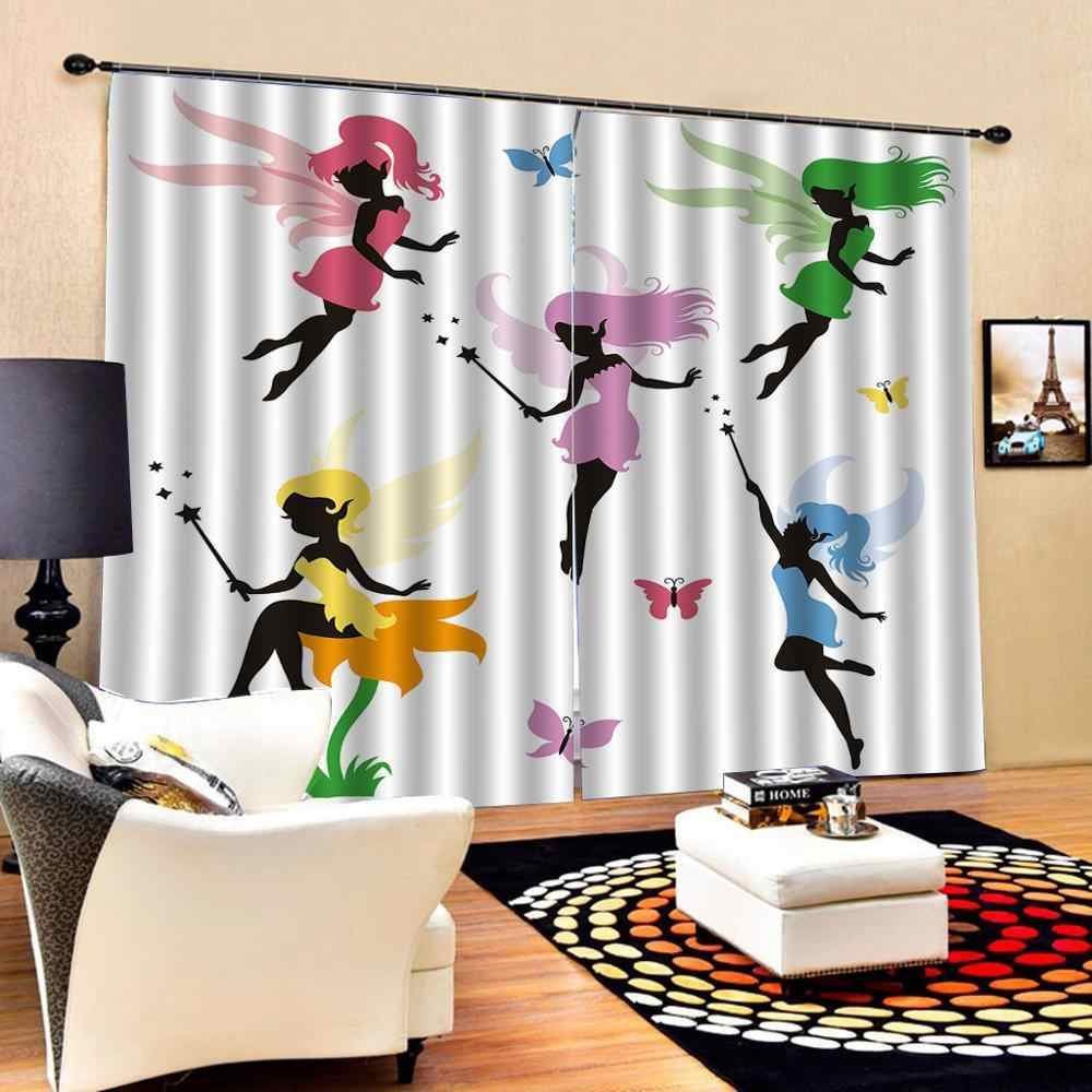 beautiful girls curtains photo Blackout Window Drapes Luxury 3D Curtains For Living room Bed room Office