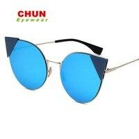 CHUN Women Cat Eye Sunglasses Brand Designer Sunglasses Classic Shades Round Frame + Case L45