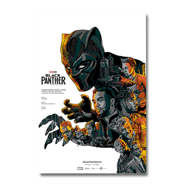 19cb5bbea1245 US $4.6 20% OFF|Black Panther 2 Superhero Movie Silk Poster Wall Art Print  12x18 24x36 inch Decoration Pictures Wallpaper Living Room Decor 005-in ...