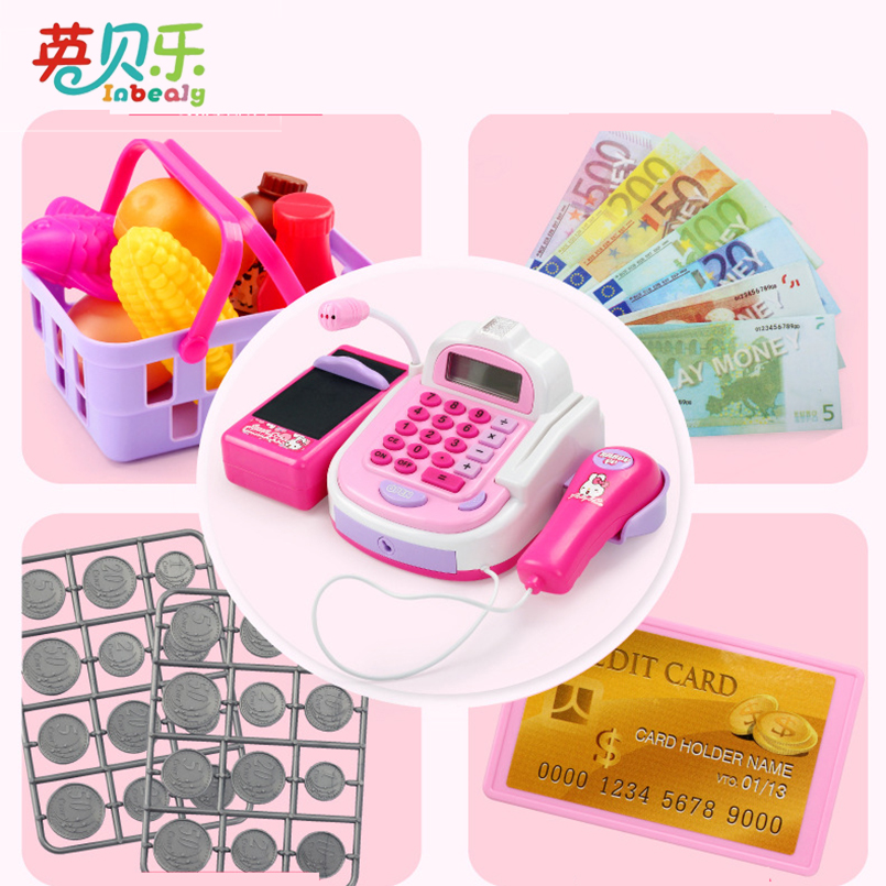 Pretend Play Simulation Electronic Supermarket Cash Register Machine Toys Educational Miniature Furniture Toys For Girl Gifts