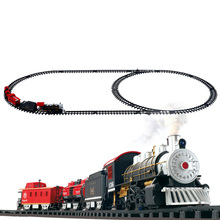 Classic toys Battery Operated Railway Rail Train Electric Toys Car with Sound&Light&Smoking for Children