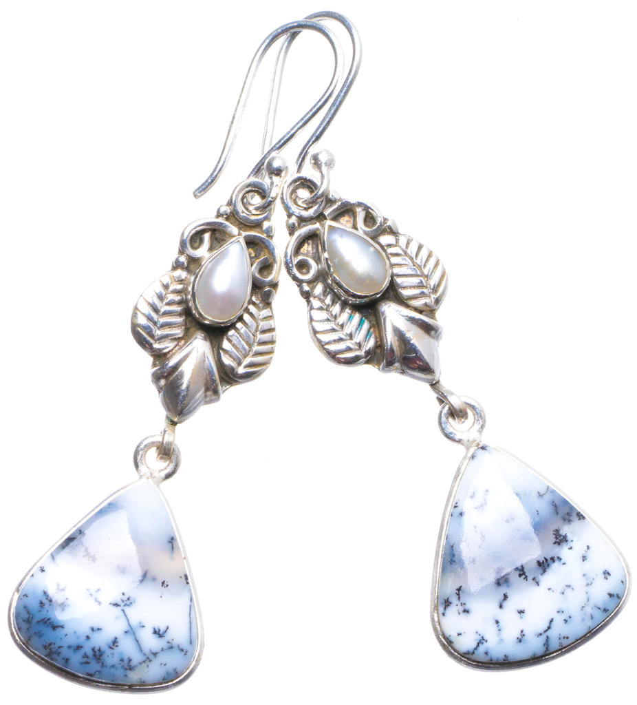 Natural Dendritic Opal and River Pearl Handmade Unique 925 Sterling Silver Earrings 2.25 X4104 соус паста pearl river bridge hoisin sauce хойсин 260 мл