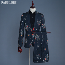 New Wedding Star Print Suit Men Slim Fit Mens Black Dress Suits (Jacket+Pants) Party Prom Grooms Singer Costumes Terno Masculino