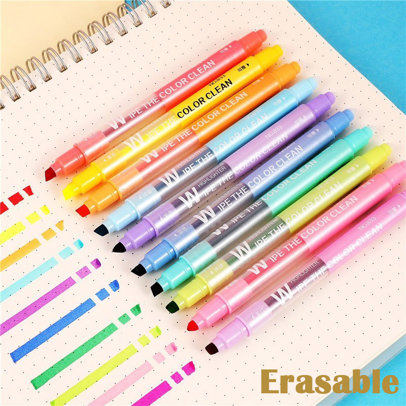 10pcs/lot Erasable double head Highlighters Art markers Highlighter Pen fluorecent pen School supplies office 0443110pcs/lot Erasable double head Highlighters Art markers Highlighter Pen fluorecent pen School supplies office 04431