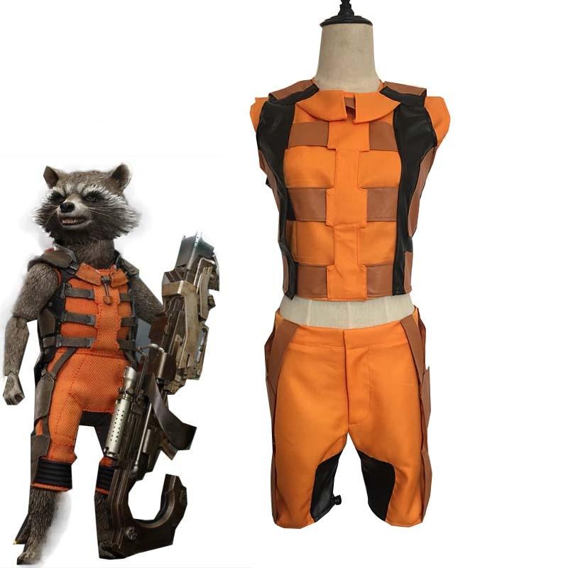 Movie Guardians of the Galaxy Rocket Raccoon Cosplay Costume Unisex Halloween Carnival Uniforms Top Pants Custom