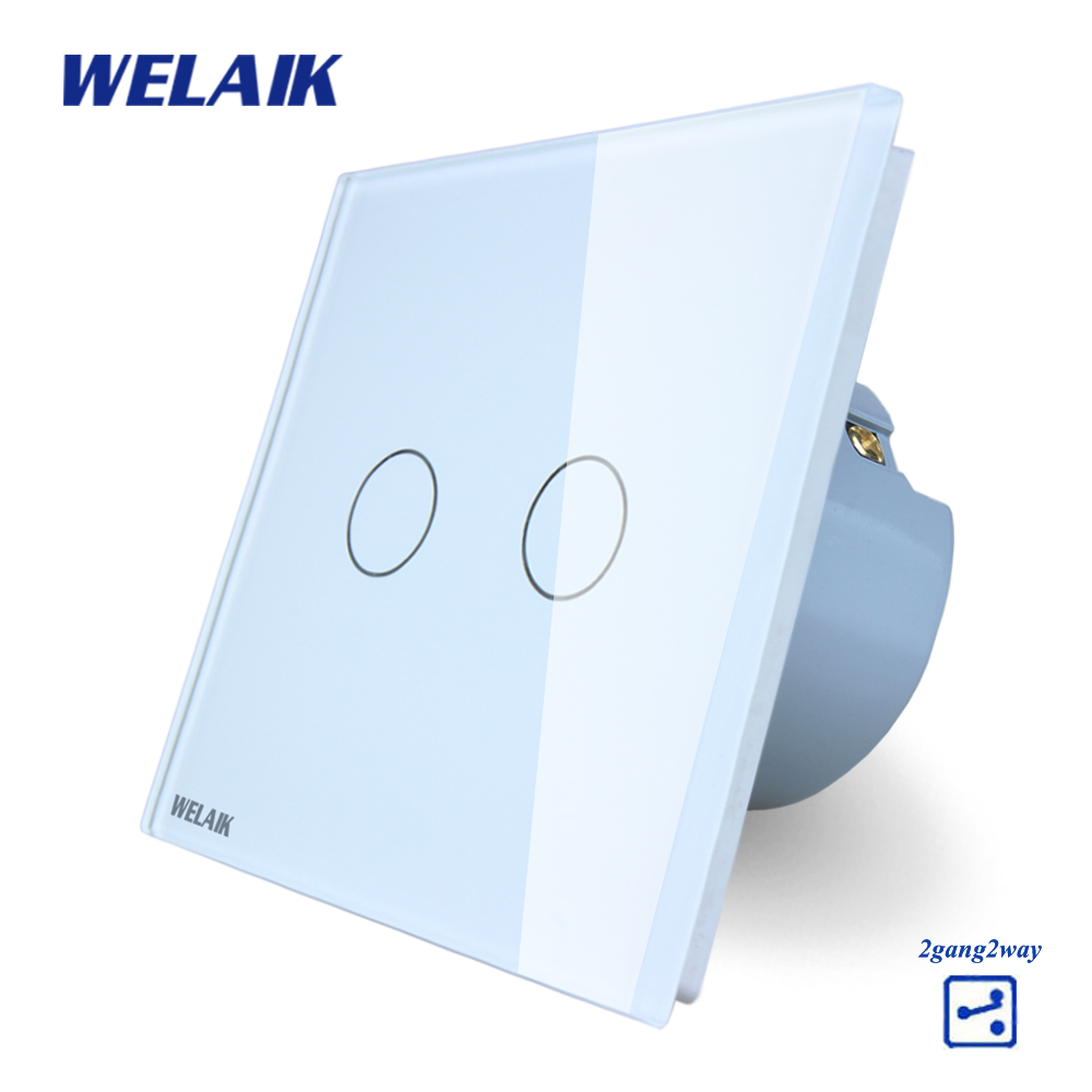 WELAIK Crystal Glass Panel Switch White Wall Switch EU Touch Switch Screen Wall Light Switch 2gang2way AC110~250V A1922CW/B cnskou 2017 smart home wall touch switch white crystal glass panel ac110 250v led 1gang 1way us light led touch screen switch