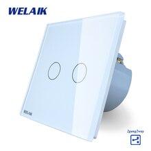 WELAIK Interruptor de Parede Interruptor Do Painel de Vidro Cristal Branco DA UE Interruptor de Toque Interruptor De Luz de Parede de Tela 2gang2way AC110 ~ 250 V A1922CW/B