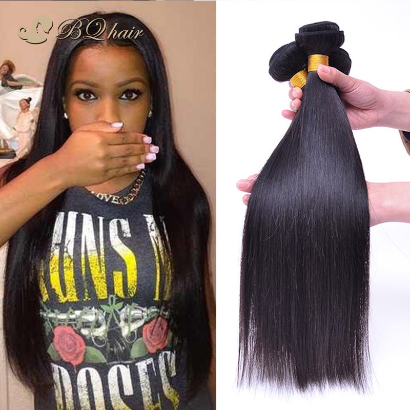 6A Malaysian straight virgin hair 4pcs/lot Malaysian  virgin hair weaves BQ Malaysian human virgin hair extension