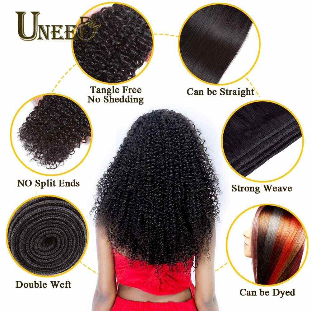 Uneed 3 пучки волос бразильский странный вьющиеся волосы волна 100% бразильский человеческих волос Weave Связки Natural Цвет Волосы remy расширения