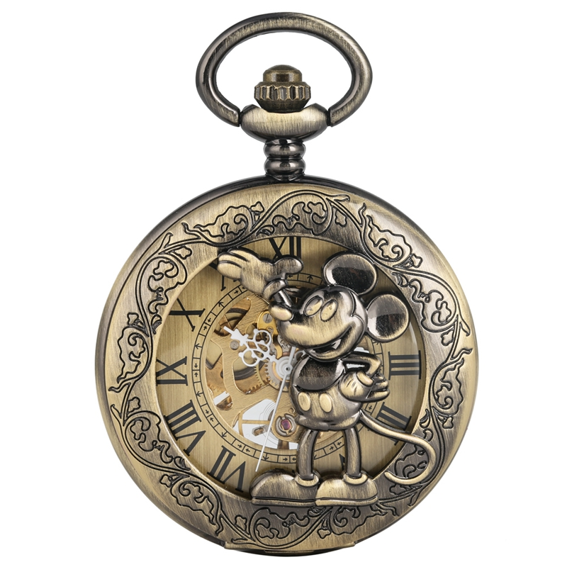Retro Bronze Mickey Mouse Hollow Roman Face Hand-winding Mechanical Pocket Watch Chain FOB Clock Floral Rattan Pocket Watches