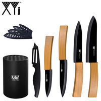 6 Piece Set Ceramic Knives For 3 4 5 6 Kitchen Knife XYj Bamboo Handle Black