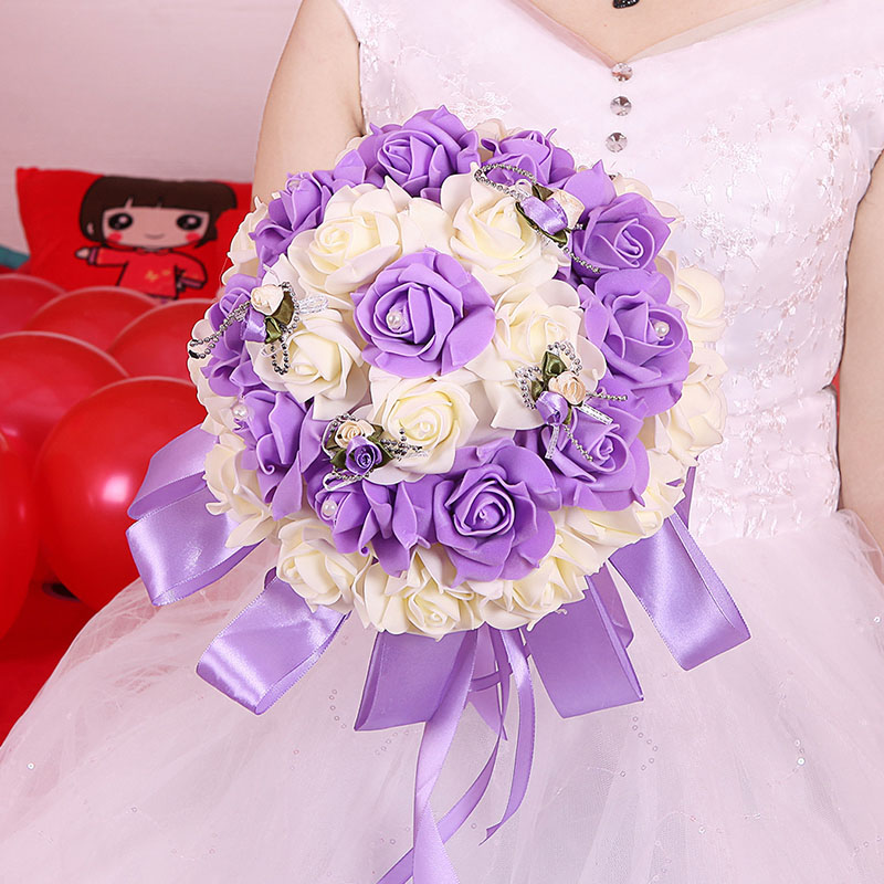 Bridal Bouquet Beautiful Bridesmaid Rose Flower Wedding Artificial Bouquets