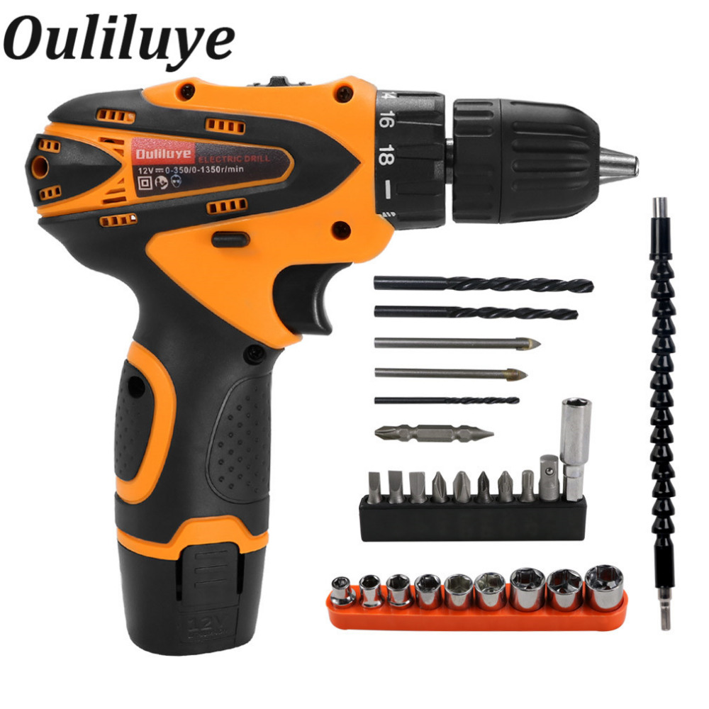 12V Cordless Mini Electric Drill Screwdriver Rechargeable Lithium Battery Household Multifunction Screwdriver Gun Power Tool