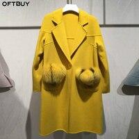 OFTBUY 2019 пальто с натуральным мехом зимняя куртка женская с натуральным лисьим мехом карман 100% шерстяная Верхняя одежда шерстяное пальто Ули