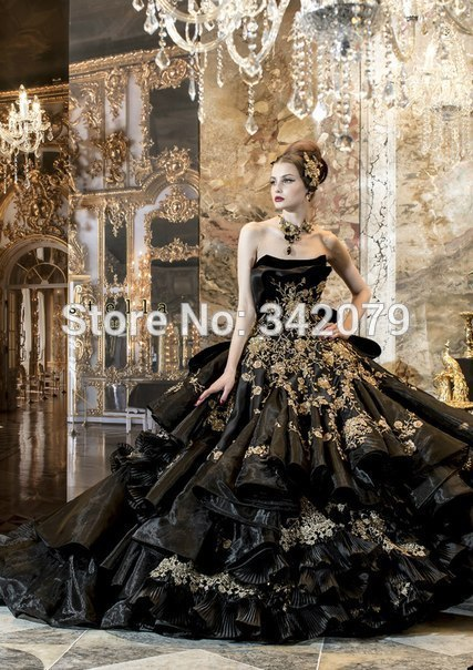 Ph04472 custom made siyah Askısız elbisesi katmanlı fırfır etek aplike çiçekler stella de libero kovboy gelinlik