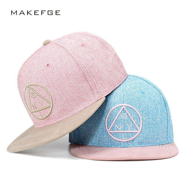 Snapback cap NY round triangle embroidery brand flat brim baseball cap  youth hip hop cap and hat for boys and girls 7451ae5427c
