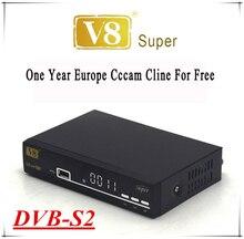 V8 Súper Receptor de Satélite Decodificador con 1 año Europa Cccam cline Envío Youporn DVB-S2 Powervu Mgcam apoyo 3G Wi-Fi Lan Newcam