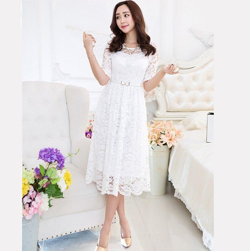 64831d176c2 New 2016 Women plus size long Lace Dress pinched waist twinset half Sleeve  elegant party beautiful temperament vestidos 98481