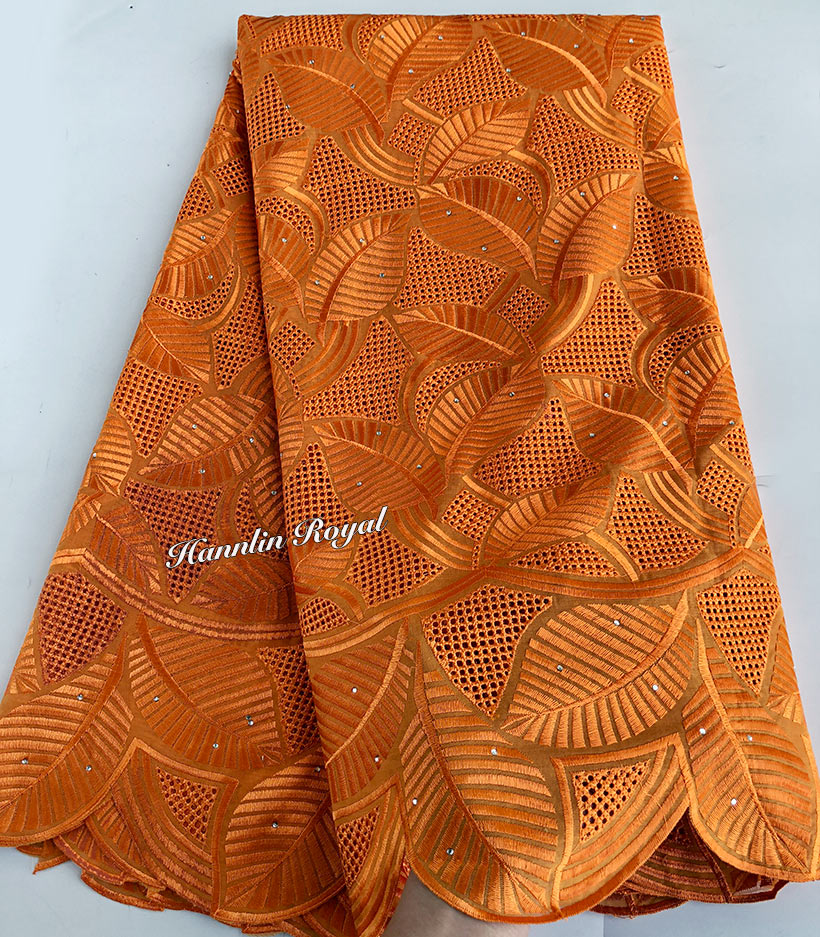 5 yards pure orange very soft genuine Swiss Lace High quality African embroidery voile lace fabric