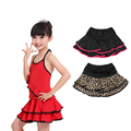 Girls Kids Latin Skirts Black Lotus Pleated  Latin Dance Wear Children Modern Ballroom Tango Latin Skirt With Shorts