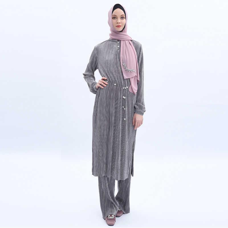 プリーツアバヤ七面鳥教徒ドレスの女性 Abayas カフタンイスラム服 Jilbab ローブフェムセクシー Musulman ツーピースセット