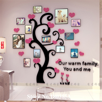 2016 New Cheap Three dimensional crystal acrylic Home decor wall stickers living room wall photo frame tree 3D Sticker Wholesale