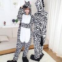 S-2XL !! Adult Flannel Zebra Onesie Hooded Pajamas Warm Animal Pijamas Men Women Sleepwear de Femininas Christmas Gifts