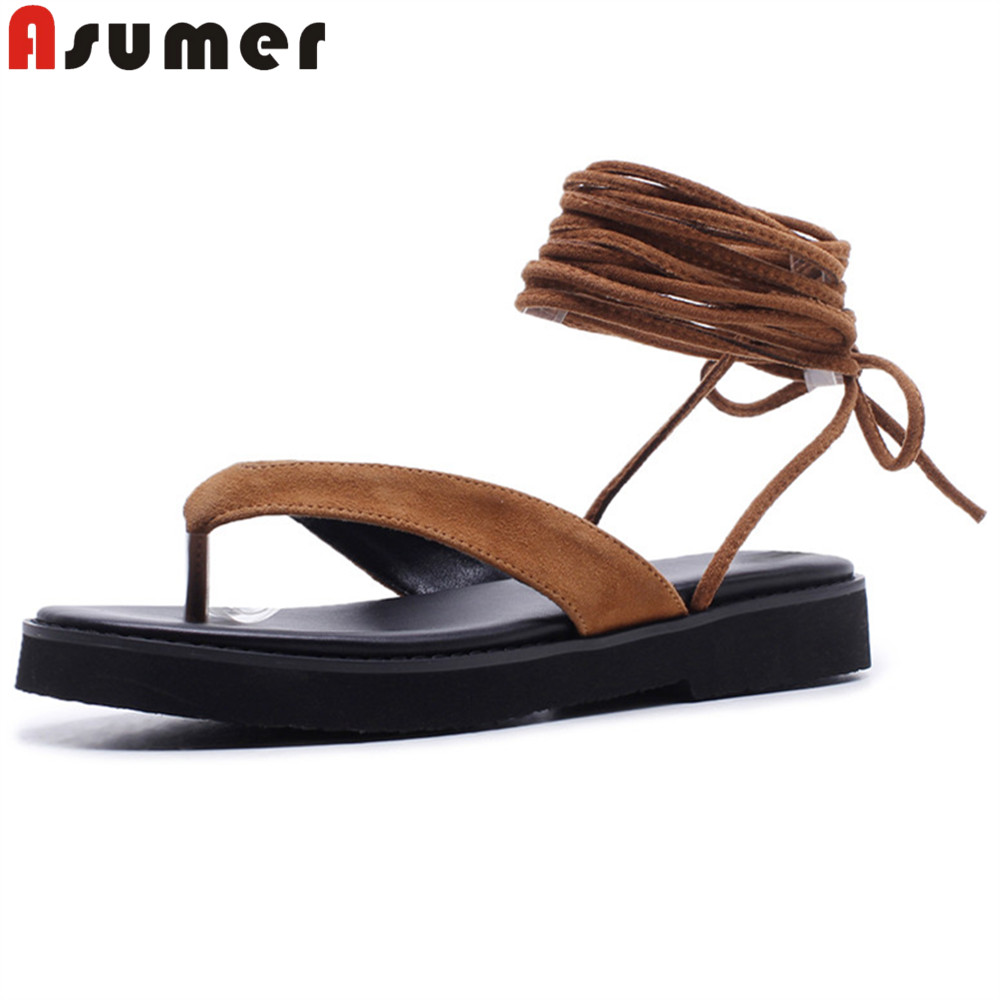 ASUMER 2018 summer new arrival fashion casual ladies shoes ankle strap black brown simple women suede leather sandals ASUMER 2018 summer new arrival fashion casual ladies shoes ankle strap black brown simple women suede leather sandals