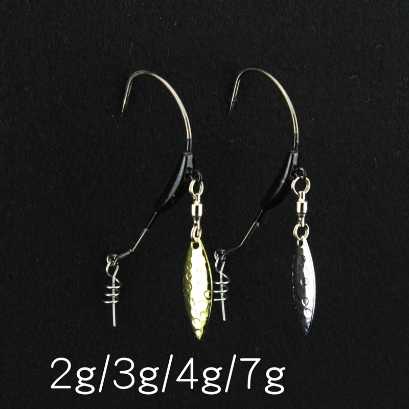 10pcs/lot Barbed Fishhook Lead head hook Soft bait worm hooks with With Metal Spoon Sequins