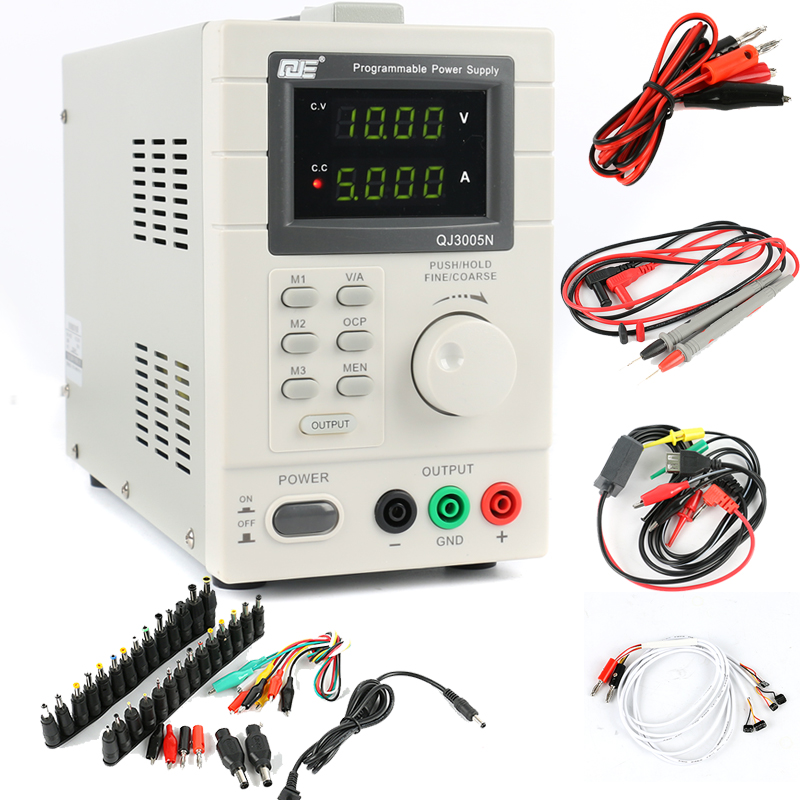 QJE QJ3005N Laboratory Adjustable LCD Digital Linear Programmable DC Power Supply 30V 5A 0.01V 0.001A + AC DC Jack Adapter SetQJE QJ3005N Laboratory Adjustable LCD Digital Linear Programmable DC Power Supply 30V 5A 0.01V 0.001A + AC DC Jack Adapter Set