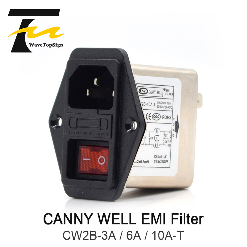 WaveTopSign CANNY WELL Power EMI Filter CW2B-3A / 6A / 10A-T CANNY WELL EMI With Rocker Switch + Socket Connector