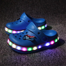 New 2016 Summer Children's Sandals LED Lighted Flashing Toddler Boys Girls Cut-out Bbeach Slippers Kids Shoes Sandal Size 24-35