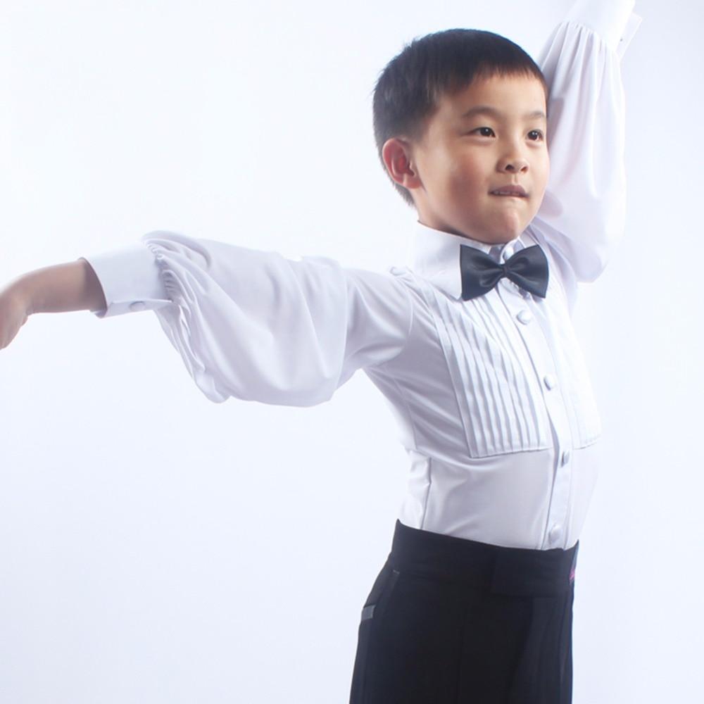 Cheap Latin Dance Shirts For Children Black White Long Sleeve Tops Wears Young Boy School Student Kid Ballroom Button Coats 6080