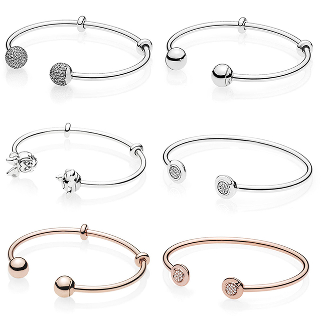 3733fda67a6 US $14.47 25% OFF Real 925 Sterling Silver Original Pandora Signature Logo  Mickey & Minnie Open Bangle Fit Women Charm Bracelet Gift DIY Jewelry-in ...