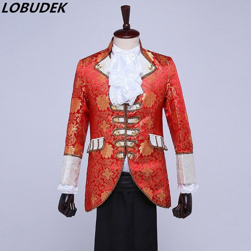 (재킷 + 바지 + 조끼 + 넥타이) 가수 댄서 스타 퍼포먼스 파티 용 유럽 정장 코트 드레스 의상 스테이지 빨간색