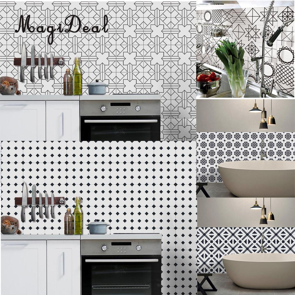 MagiDeal Self adhesive PVC Tile Stickers Bathroom Kitchen Wall Floor ...