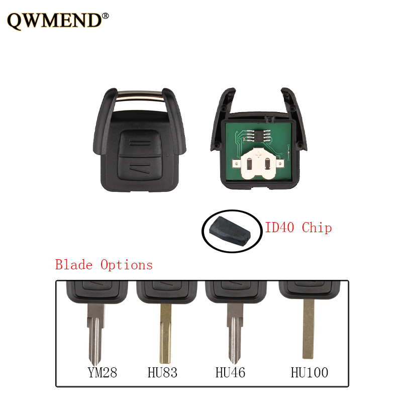 QWMEND 2 Button ID40 Chip Remote Key Fob For Vauxhall Opel Astra Vectra Zafira 433Mhz HU43/HU100/YM28/HU46 Blade Original Key