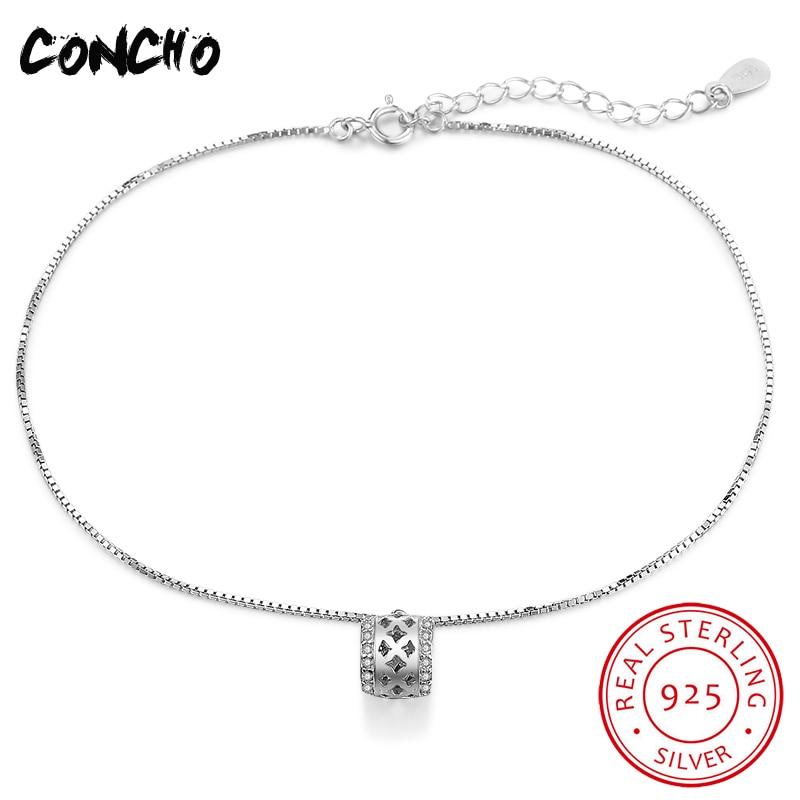 2018 Sale Real Silver Trendy Praia Pulseras Tobilleras Tornozeleiras Jewelry 925 Sterling Geometric Anklets For Women