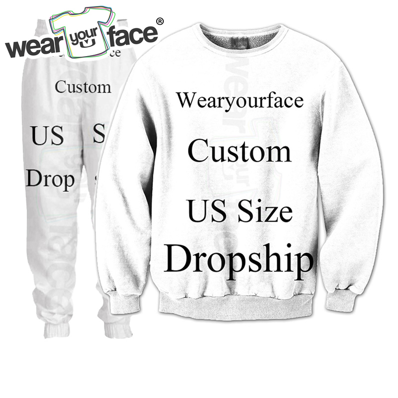Custom Dropship US Size 3D All Over Printed Crewneck Sweatshirts Tracksuits Streetwear Outfits Sweats For Kid Women Men Sets