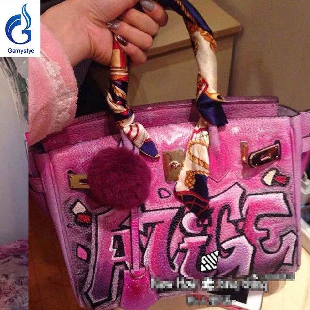 New Graffiti Custom Bags Genuine Leather Totes Women Messenger Hand Painting Dogs Bag Handbags Pink