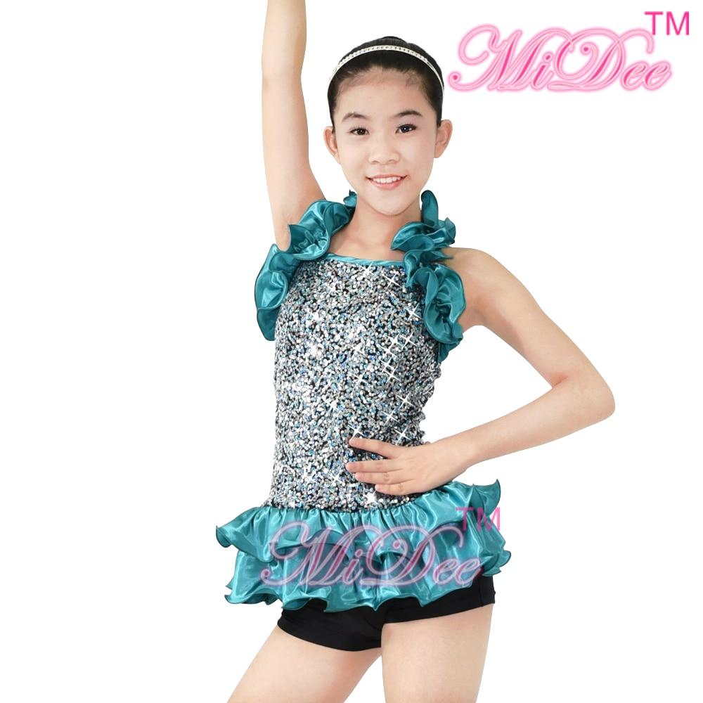 MiDee Jazz Dance Costumes Stage Performance Sequined Tops Ballroom Latin Dance Dress For Women