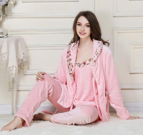 Fdfklak High quality 2018 New Flannel Pajamas Women Long Sleeve 3 Pieces Pyjamas  Womens Sleepwear Set Thick Warm Pijamas Sets -in Pajama Sets from Underwear  ... 7b445699f