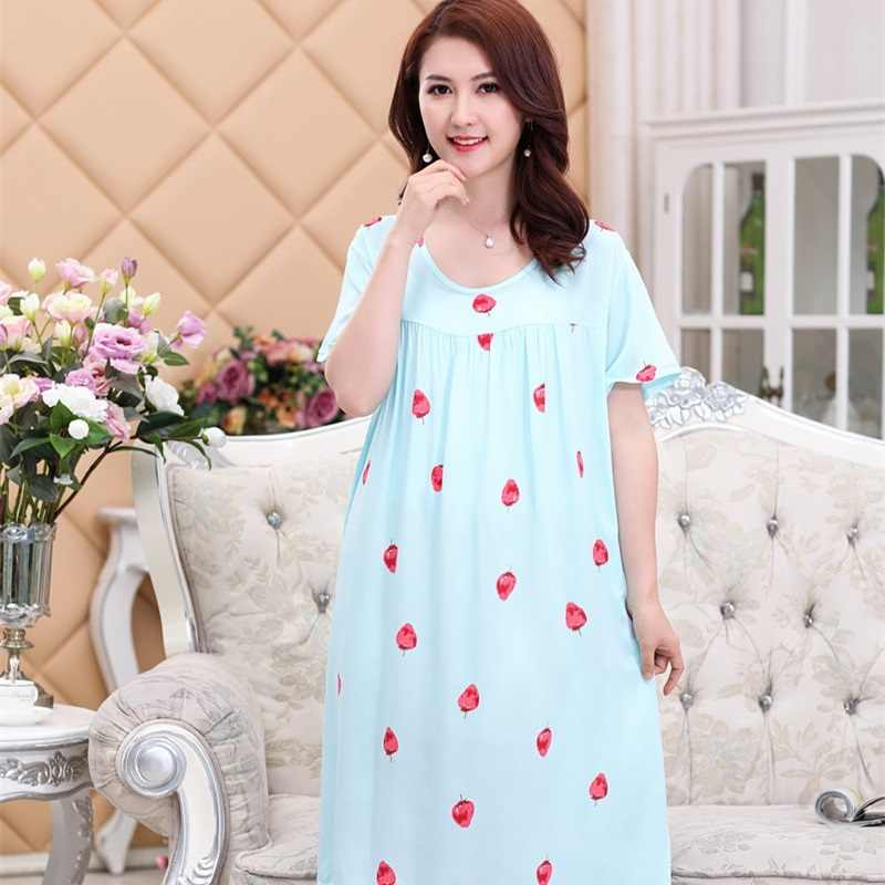 Summer Short-Sleeved Women s Sleepshirts Strawberry Print Nightgowns  Sleepwear Nightwear Lady Nightdress Shirt femme size 215b81214
